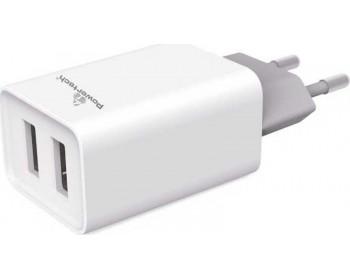Powertech 2x USB Wall Adapter Λευκό (PT-778)