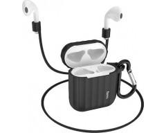 Θήκη Hoco WB10 Silicone Protective για Airpods 1/2 Μαύρη με Γάντζο και Strap Λαιμού