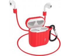 Θήκη Hoco WB10 Silicone Protective για Airpods 1/2 Κόκκινη με Γάντζο και Strap Λαιμού