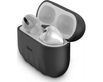 Θήκη Hoco WB20 Fenix Liquid Silicone Protective Μαύρη για Airpods Pro με Λουράκι